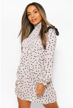 Stone beige Petite High Neck Polka Dot Frill Edge Mini Dress