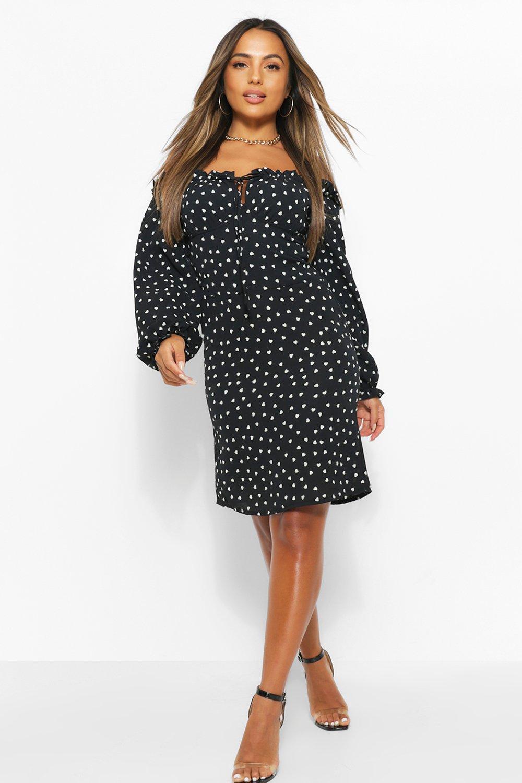 Petite Dresses Petite Heart Print Frill Tie Front Shift Dress