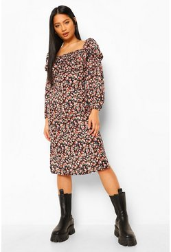 Black Petite Ditsy Print Twist Front Split Hem Midi Dress