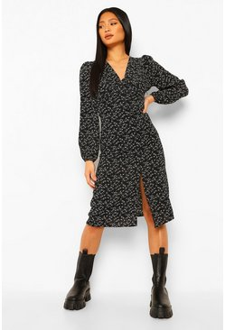 Black Petite Volume Sleeve Ruched Front Midi Dress