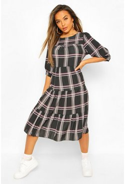 Black Petite Check Volume Sleeve Midi Dress