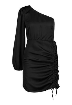 Black Petite Satin Ruched One Shoulder Dress