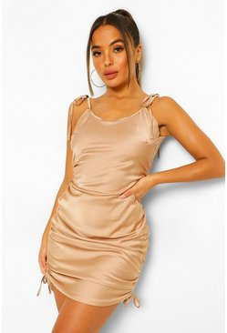 Petite Satin Tie Strap Ruched Bodycon Dress, Champagne beis