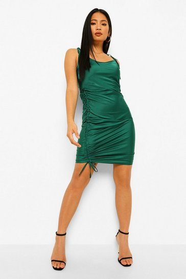 Emerald green Petite Satin Tie Strap Ruched Bodycon Dress
