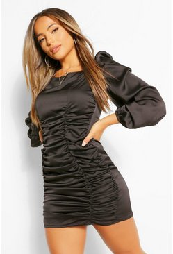 Petite Satin Ruched Front Volume Sleeve Dress, Black nero