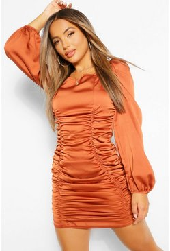 Petite Satin Ruched Front Volume Sleeve Dress, Rust orange