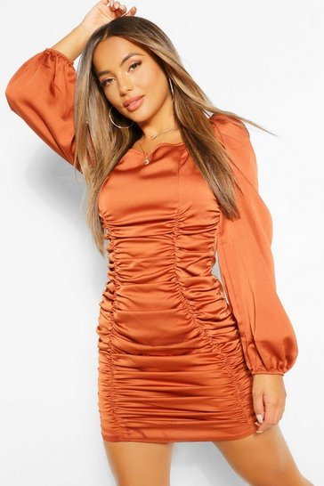 Rust orange Petite Satin Ruched Front Volume Sleeve Dress