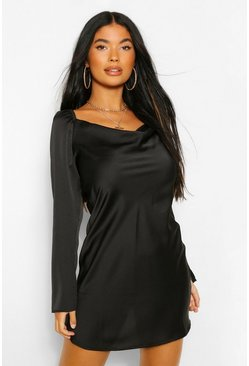 Black Petite Satin Split Sleeve Cowl Neck Mini Dress