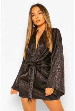 Black Petite Leopard Satin Jacquard Tie Front Mini Dress
