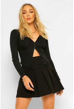 Petite Pleated Tennis Skirt, Black Чёрный