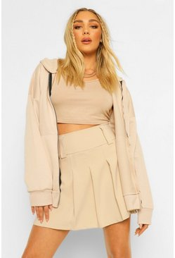 Stone beige Petite Pleated Tennis Skirt