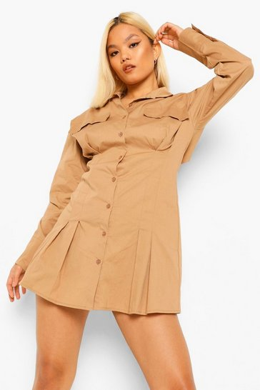 Stone beige Petite Waist Seam Detail Shirt Dress