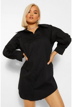 Black Petite Extreme Collar Ruched Sleeve Shirt Dress