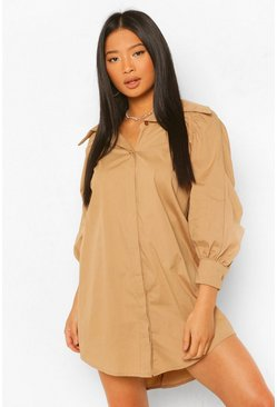 Stone beige Petite Extreme Collar Ruched Sleeve Shirt Dress