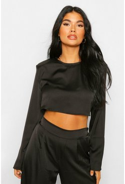 Black Petite Satin Long Sleeve Shoulder Pad Crop Top