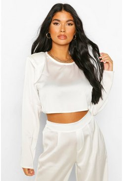 Ivory white Petite Satin Long Sleeve Shoulder Pad Crop Top