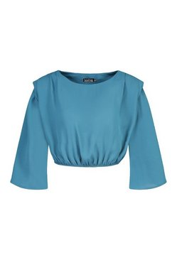Teal Petite Woven Shoulder Pad Ruched Sleeve Crop Top