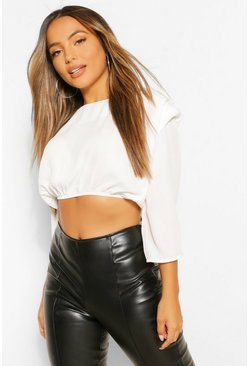 White Petite Woven Shoulder Pad Ruched Sleeve Crop Top