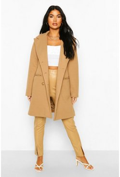 Camel beige Petite Wool Look Double Breasted Coat
