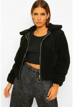 Black Petite Teddy O-Ring Bomber Jacket