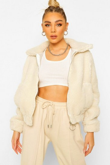 Ecru white Petite Teddy O-Ring Bomber Jacket