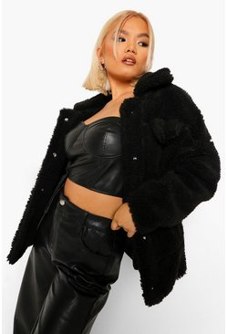 Black Petite Teddy Longline Trucker Jacket