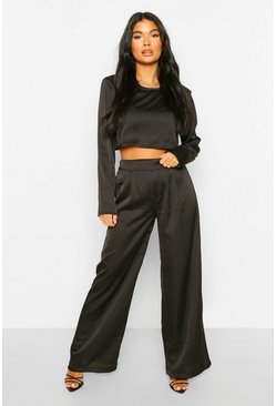 Black Petite Satin Wide Leg Trousers