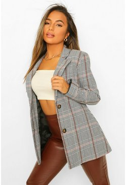 Black Petite Check Oversized Blazer