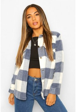 Blue Petite Check Wool Look Shacket