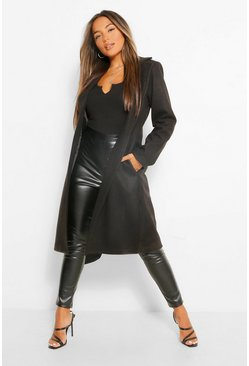 Black Petite Wool Look Turn Up Sleeve Edge to Edge Coat