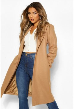 Camel beige Petite Wool Look Turn Up Sleeve Edge to Edge Coat