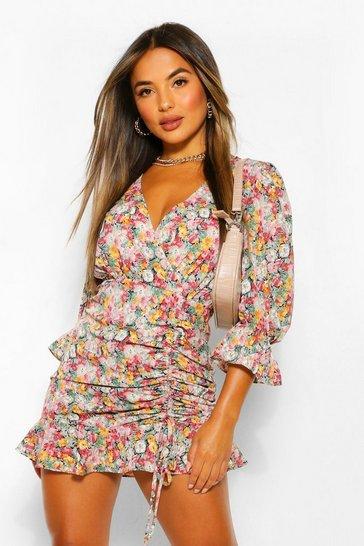 Black Petite Floral Ruched Wrap Dress