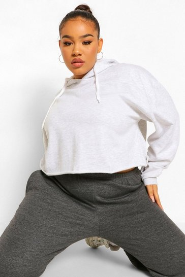 Grey Plus Raw Edge Cropped Hoody