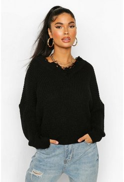 Black Petite Distressed Raw Edge V Neck Jumper
