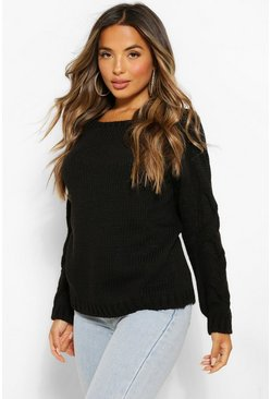 Petite Cable Knit Sleeve Detail Jumper, Black negro