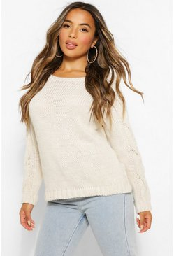 Ivory white Petite Cable Knit Sleeve Detail Jumper