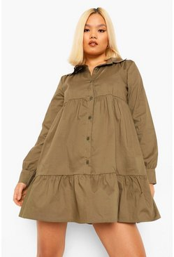 Khaki Petite Tiered Shirt Smock Dress