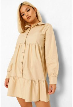 Stone beige Petite Tiered Shirt Smock Dress