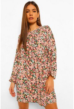Black Petite Floral Print Smock Dress