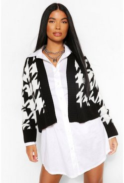 Black Petite Cropped Dogtooth Knitted Cardigan
