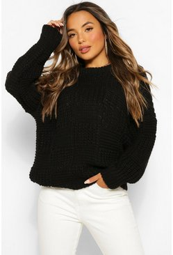 Black Petite Oversize Heavy Weight Check Detail Jumper