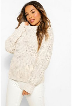 Petite Oversize Heavy Weight Check Detail Jumper, Ivory blanc