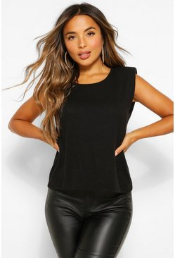 Black Petite Shoulder Pad Detail Jumper