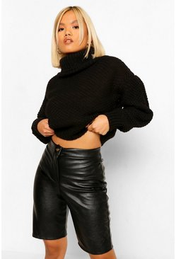 Black Petite Roll Neck Volume Sleeve Jumper