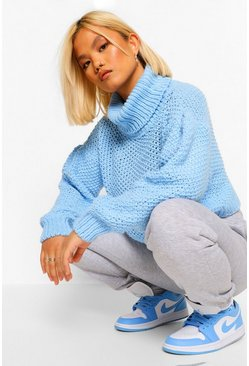 Pale blue Petite Roll Neck Volume Sleeve Jumper