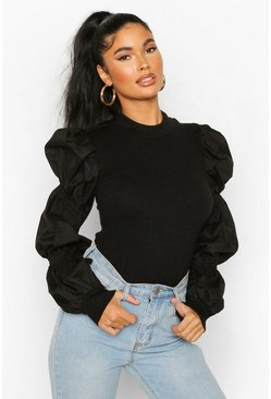 Black Petite Poplin Extreme Volume Sleeve Jumper