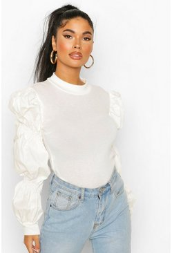 White Petite Poplin Extreme Volume Sleeve Sweater