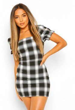 Black Petite Volume Sleeve Woven Check Dress