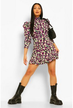 Purple Petite Volume Sleeve Floral Skater Dress