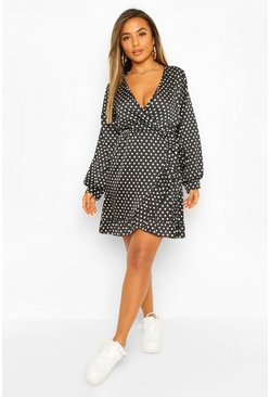Black Petite Polka Dot Woven Wrap Dress